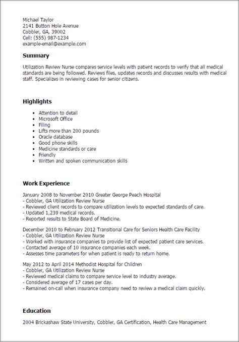 Resume Template Reviews professional utilization review templates to