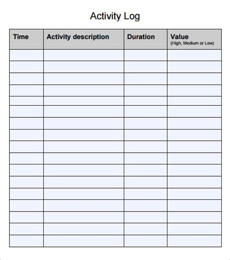daily activity log template log template documents in pdf word excel