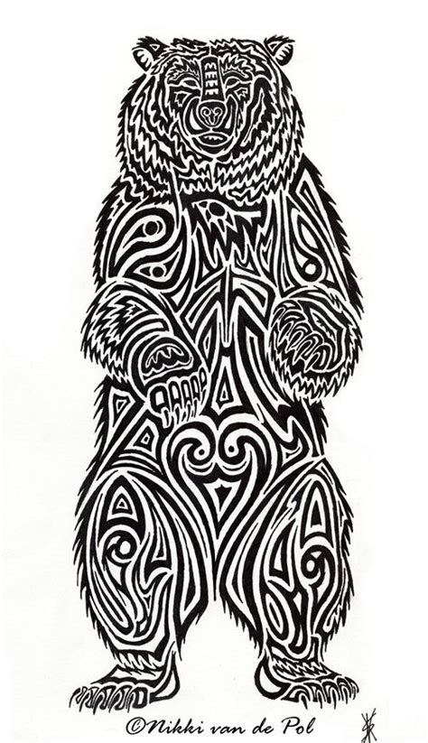 stronger and braver personality with bear tattoo designs