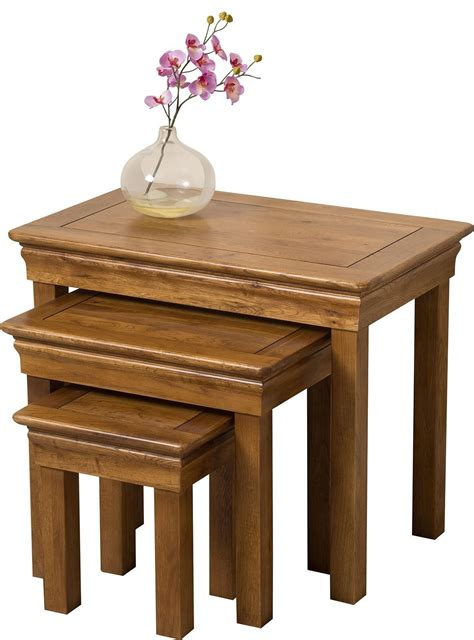 chateau oak nest of tables modern furniture direct