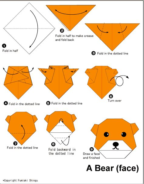 Wajah Foe 2 mudahnya membuat origami wajah beruang cara mudah