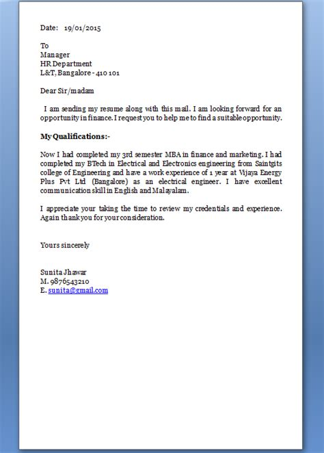 how to write email cover letter for resume how to make a cover letter for a resume