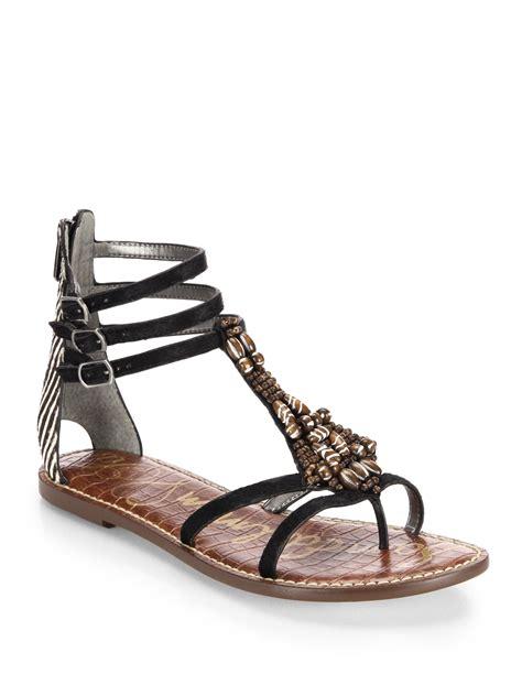sam edelman sandals sam edelman giada beaded leather calf hair sandals in