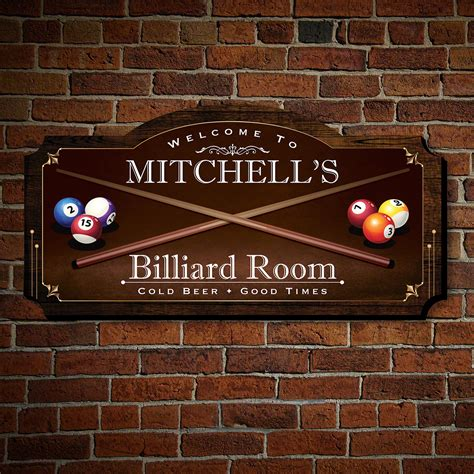room sign cape billiard room personalized wood home sign