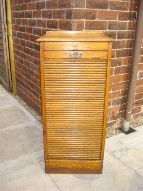 Antique Oak Tambour Front Filing Cabinet Chest Music