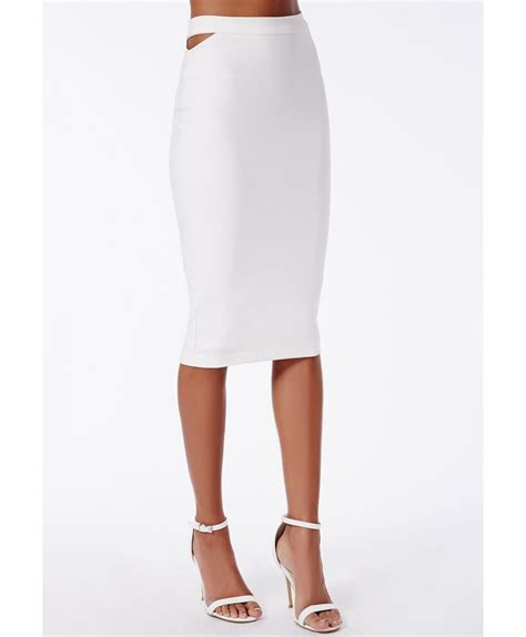 missguided x cut out midi skirt white