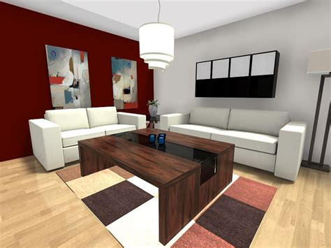 red accent wall in living room living room ideas roomsketcher