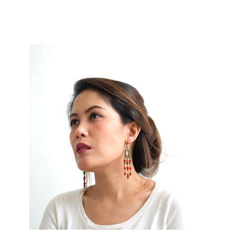 Manik Manik Bakpao 6mm anting etnik panjang putih koleksikikie