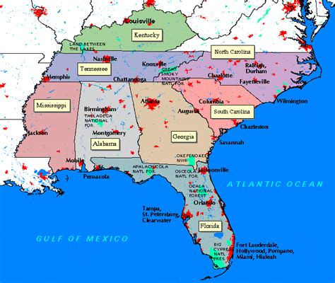 map of south carolina and florida epa southeastern ecological framework project