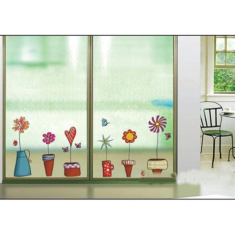 home decor sticker flower pots window wall decor stickers dealeaz