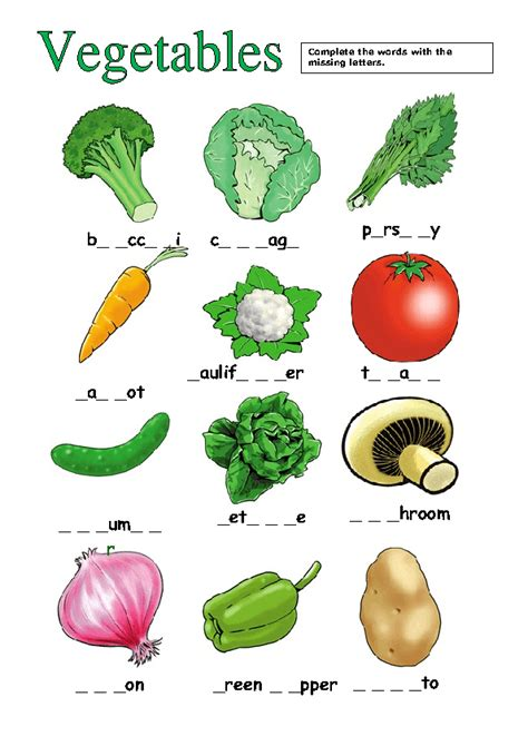 4 Letter Words Vegetables vegetables missing letters activity