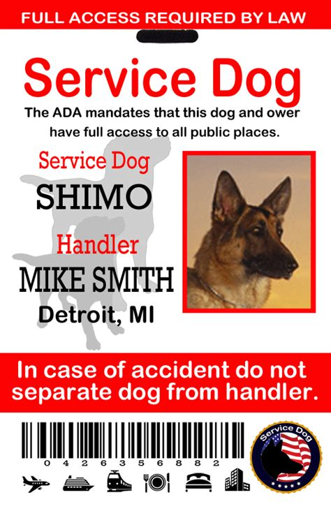 service animal id card template service patches working