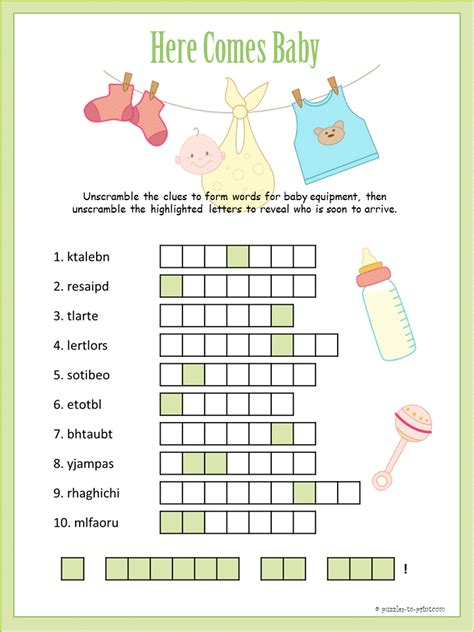 Free Printable Baby Shower Word Scramble by Baby Shower Word Scramble