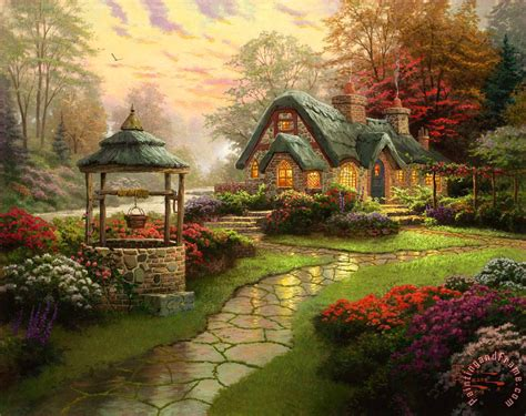 kinkade make a wish cottage painting make a wish
