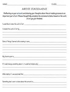 artist statement template the smartteacher resource artist statement worksheet