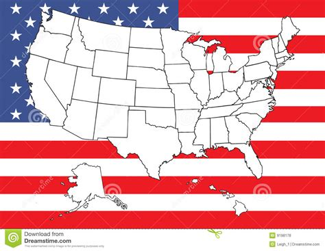 free stock images us map map of us with flag royalty free stock photos image 9198178