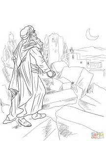 free bible coloring pages nehemiah nehemiah observing broken walls of jerusalem coloring page
