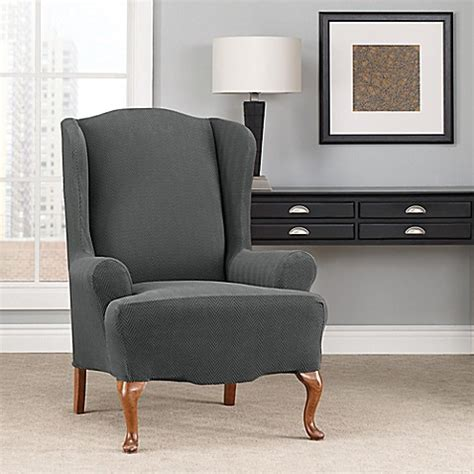sure fit wingback slipcover sure fit 174 modern chevron wingback chair slipcover bed