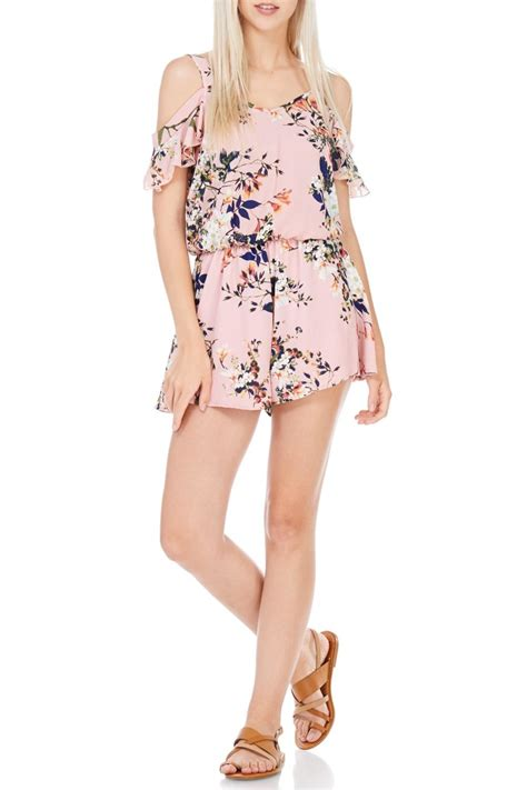 Romper Pendek 3 In 1 peppermint floral cold shoulder romper from california by apricot folsom shoptiques