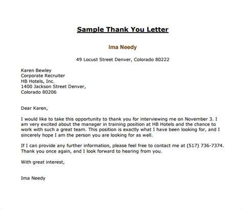 Thank You Letter To Recruiter Template Sle Thank You Letter Template 16 Free Documents In Pdf Word