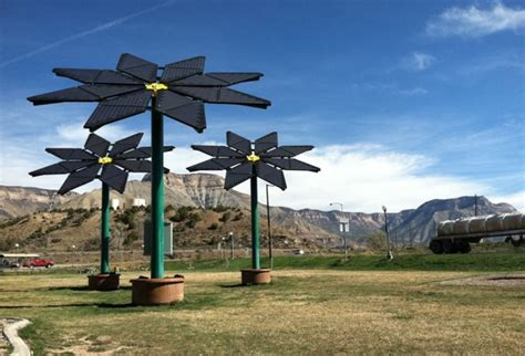 A Frame Style Homes solar flowers at the parachute rest area green passive