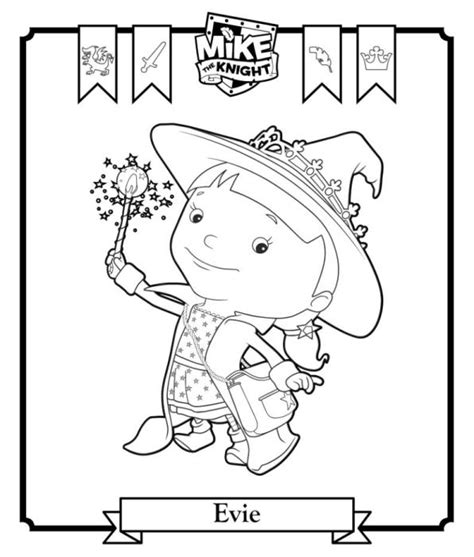 kids n fun com coloring page mike the knight evie