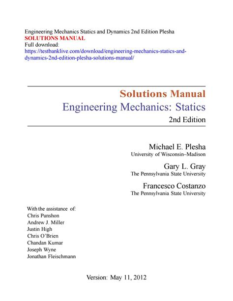 engineering mechanics statics  dynamics  edition plesha solutions manual  manaren issuu
