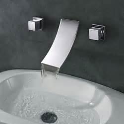 widespread designer curve spout waterfall bathroom sink