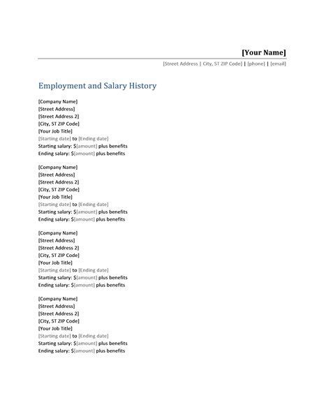resume with salary history sample salary requirements in cover