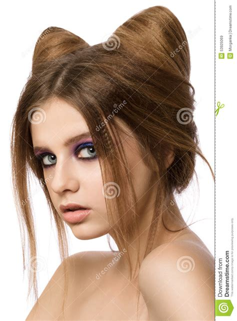 Hairstyle Photos Only Printer by Pretty With Cat Ears Hairstyle Stock Image