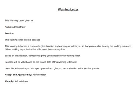 Service Warning Letter sle verbal warning letter to employee docoments ojazlink