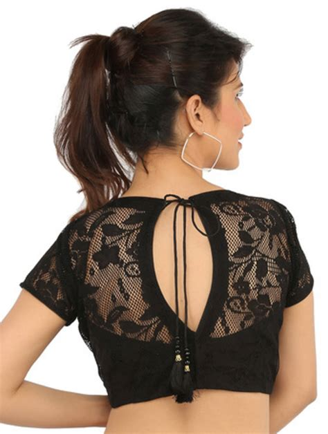 boat neck readymade blouses online buy black boat neck lace ready made blouse online