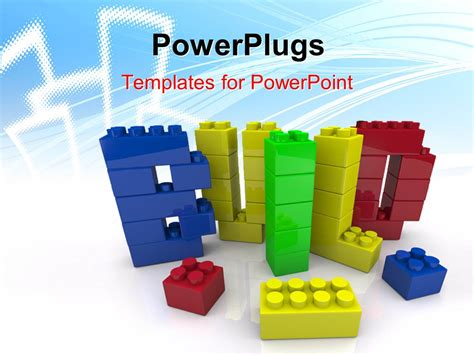 Powerpoint Template A Number Of Building Blocks In Various Colors 4237 Building Blocks Template