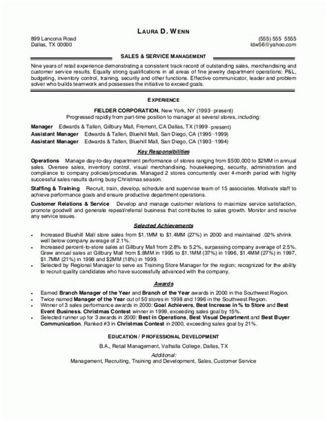 Store Manager Retail Sle Resume by Retail Sales Manager Resume Exles