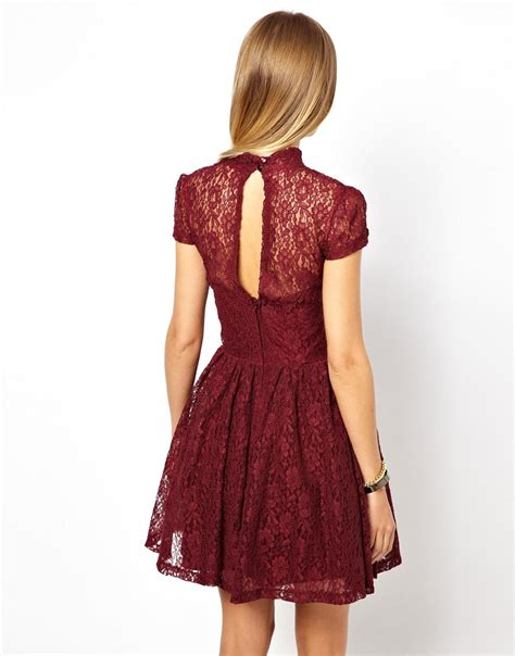 Hoodie Homecoming Anggita Fashion lyst asos lace high neck prom dress in purple