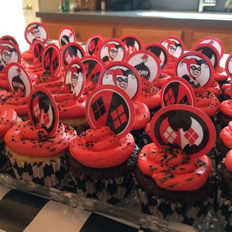 harley quinn themed birthday party homemade cupcakes for my sons harley party harley quinn