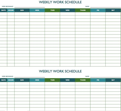 Free Weekly Schedule Templates For Excel Smartsheet Creating A Work Schedule Template