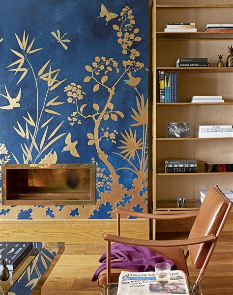 blue and gold room transform your living room with statement wallpaper the room edit