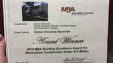 Clarion Mba Program by Clarion Becht Wins Master Builder S Association Award