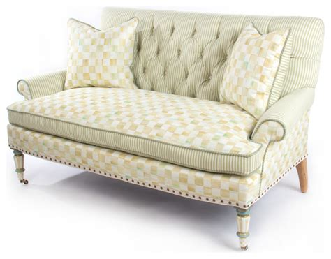 siam parchment sofa loveseat parchment check underpinnings loveseat mackenzie childs
