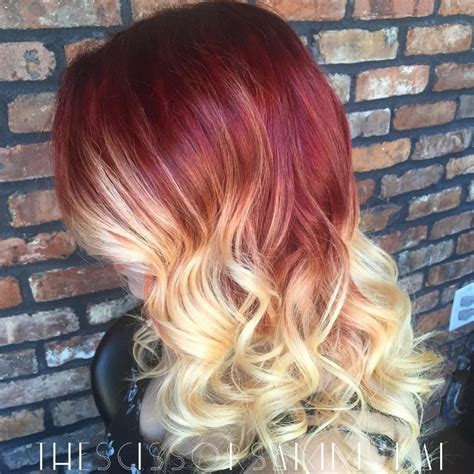 red to blonde ombre bob hair in the bleached hair category