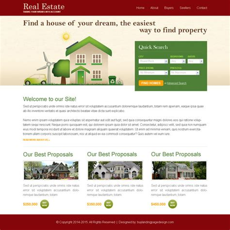 free clean and converting real estate website template psd