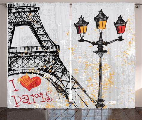 paris print curtains grunge style paris eiffel lanterns european culture print