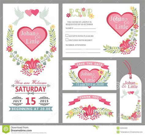 wedding card design template wedding card design template set floral decor stock