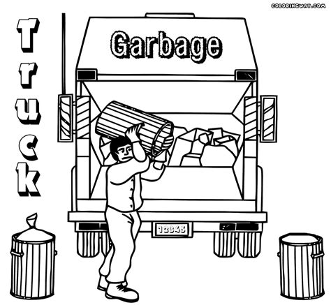 Coloring Page Garbage Truck by Garbage Truck Coloring Pages Sketch Coloring Page