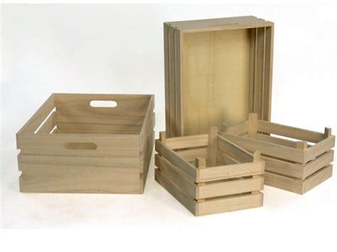 cassetta legno cassette in legno naturale set 4 cassette ceste vassoi in