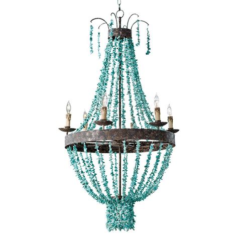 Turquoise Chandeliers Pensacola Coastal Beach Beaded Turquoise Metal Chandelier