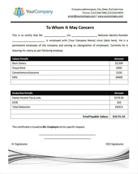 Salary Certificate Letter Pdf salary certificate templates free premium