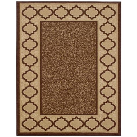 Area Rug 5 X 6 Collection Trellis Border Design Brown 5 Ft X 6 Ft 6 In Modern Non Skid Area Rug Ann1028