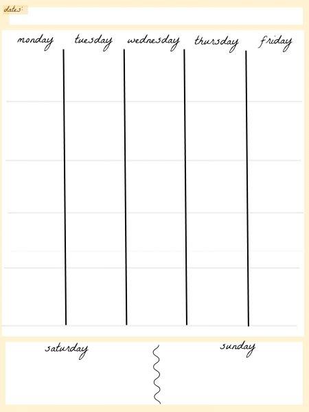 free 5 day calendar template blank calendar 5 day week printable calendar template 2018